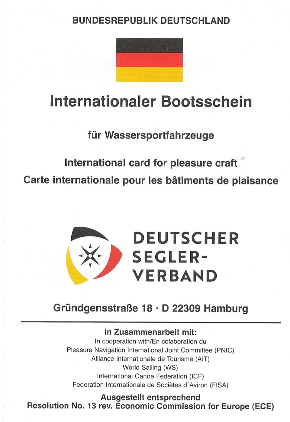 Internationaler Bootsschein
